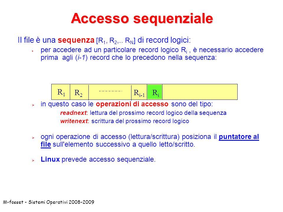 Accesso sequenziale Il file è una sequenza [R1, R2,.. RN] di record logici: